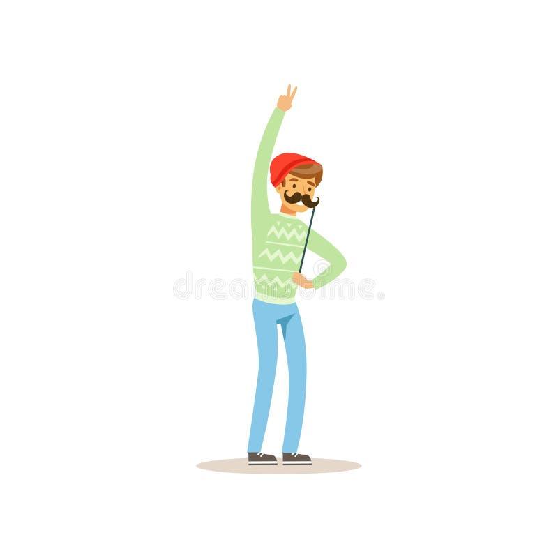握在棍子的快乐的行家滑稽的髭 化妆舞会、生日或者单身聚会 动画片年轻人字符 库存例证