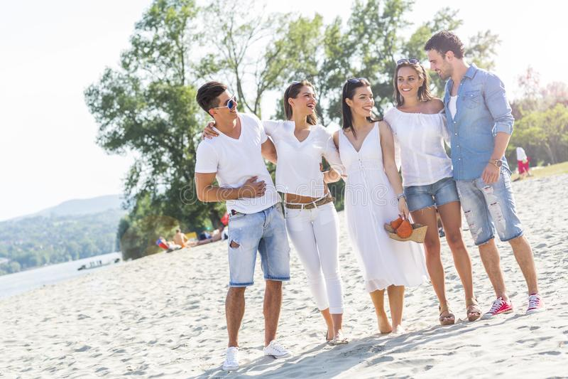 握在海滩的小组青年人手 库存图片