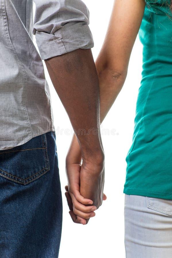 握在白色背景的男人和妇女手 库存图片