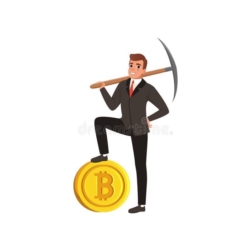 握在肩膀的镐和在金黄bitcoin的成功的商人一条腿 正式的自信年轻人 皇族释放例证