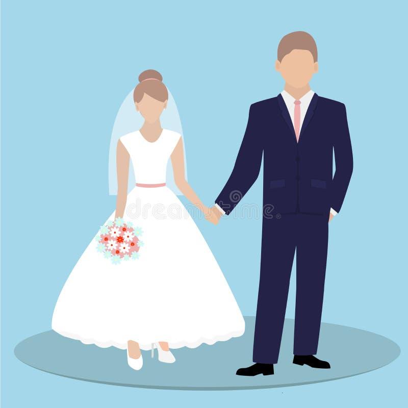 握在蓝色背景的新娘和新郎夫妇手 也corel凹道例证向量 皇族释放例证