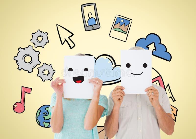 握在他们的面孔的男人和妇女兴高采烈的面孔与各种各样的象在背景中 免版税库存照片