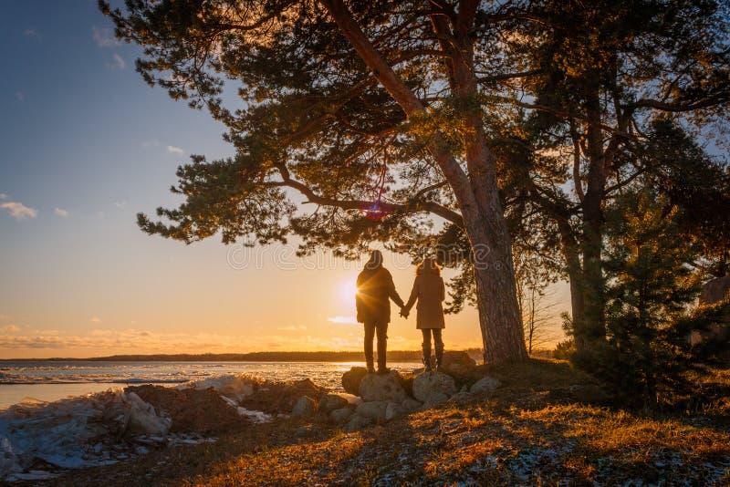 握在Peipsi湖岸的年轻夫妇手在南爱沙尼亚 库存照片