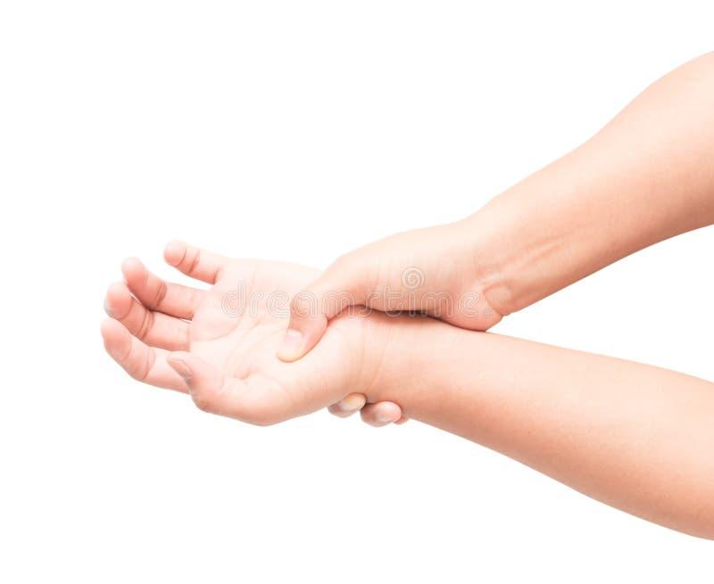 握她的在白色背景,医疗保健的妇女手腕子  免版税库存照片