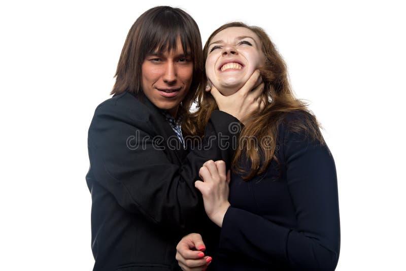 Download 握妇女的脖子的年轻人 库存图片. 图片 包括有 扼杀, 微笑, 动物, 错误, 放血, 窒息, 衬衣, 长期 - 59112835