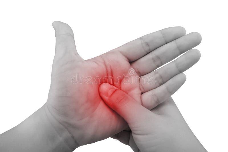 握对痛苦斑点的手  免版税图库摄影