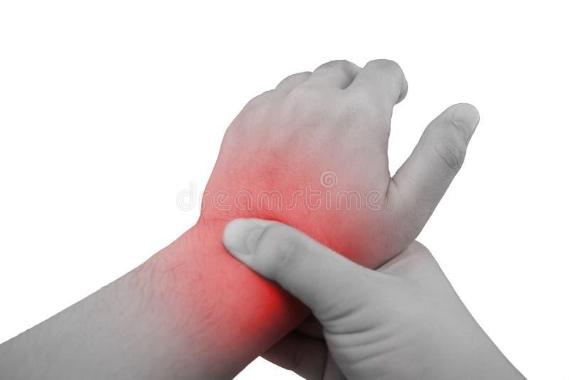 握对腕子痛苦斑点的手  库存图片