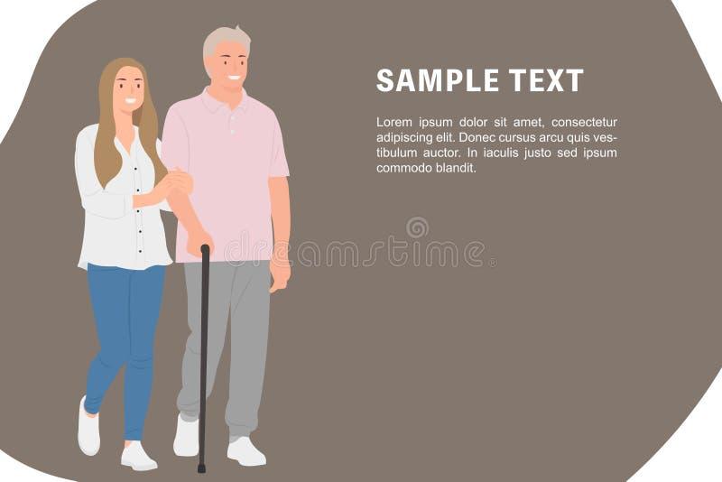 握年长父亲的胳膊的动画片人字符设计横幅模板年轻女儿愉快地一起走 向量例证