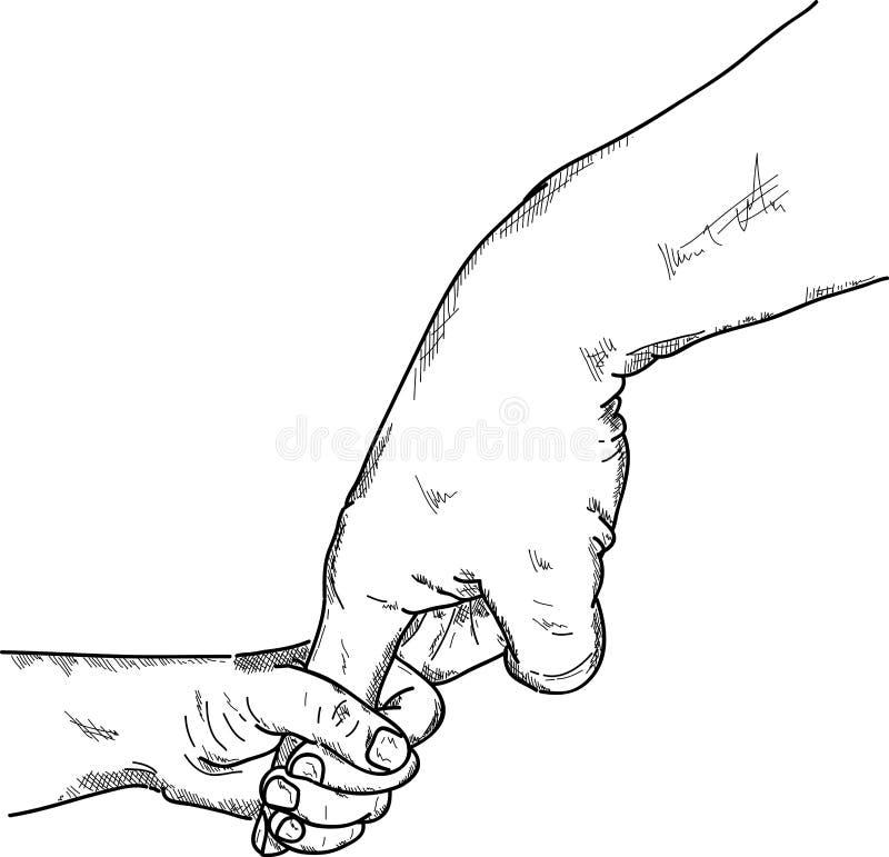 握成人的手指的婴孩 向量例证