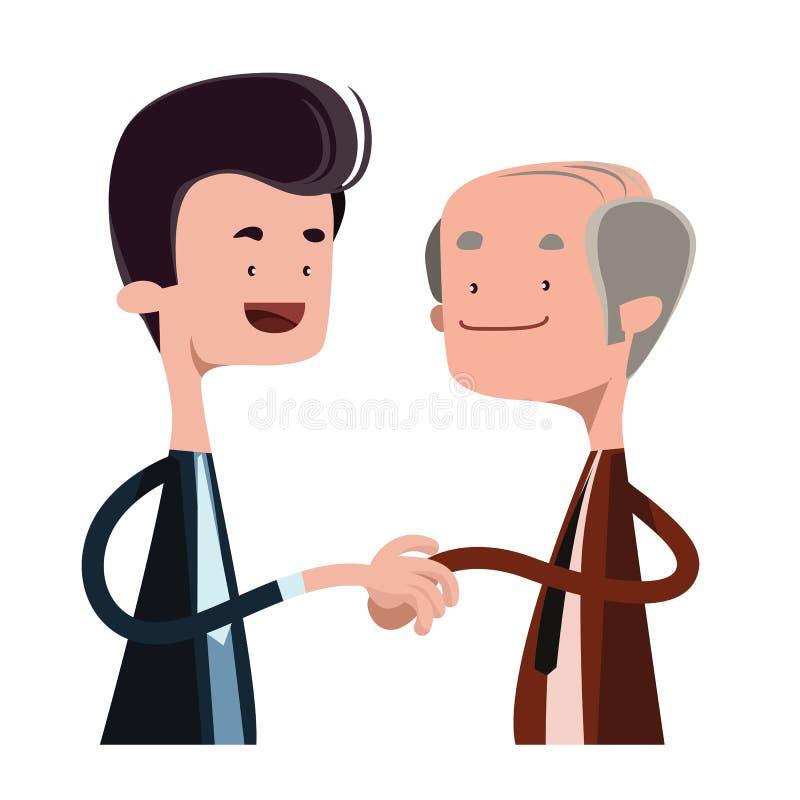 握手例证漫画人物的人们 库存例证