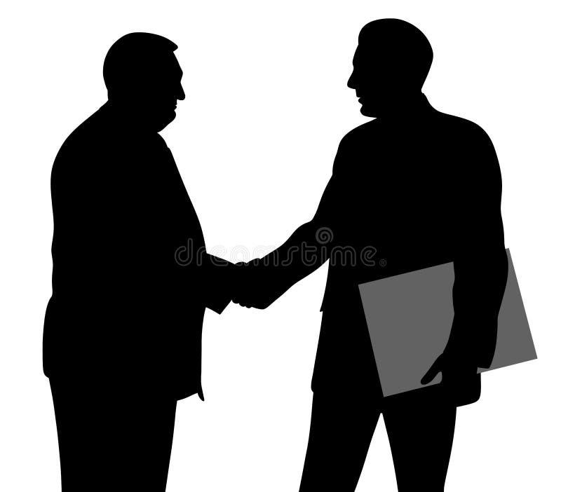 握手和一个举行的文件夹与合同的两个商人 皇族释放例证