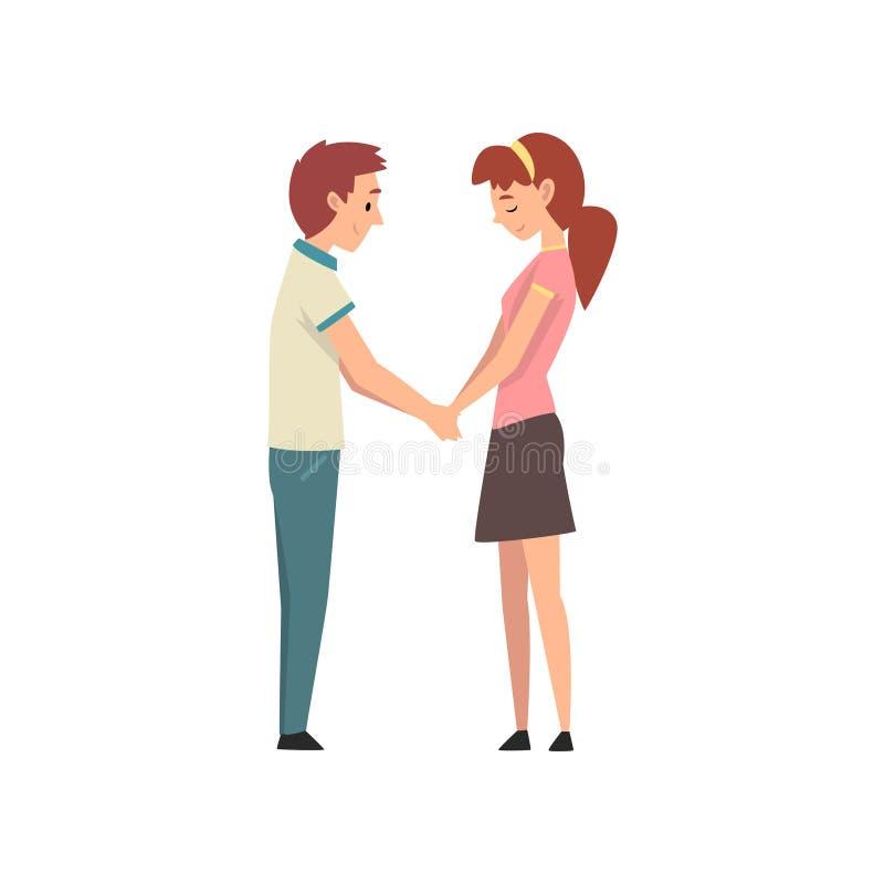 握手和看彼此,愉快的浪漫夫妇在日期,愉快的恋人的年轻人和美女 皇族释放例证