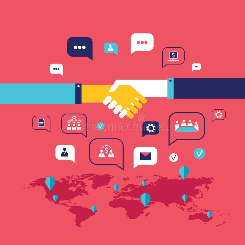 握手和象网的在世界地图背景成功的企业概念上 库存例证