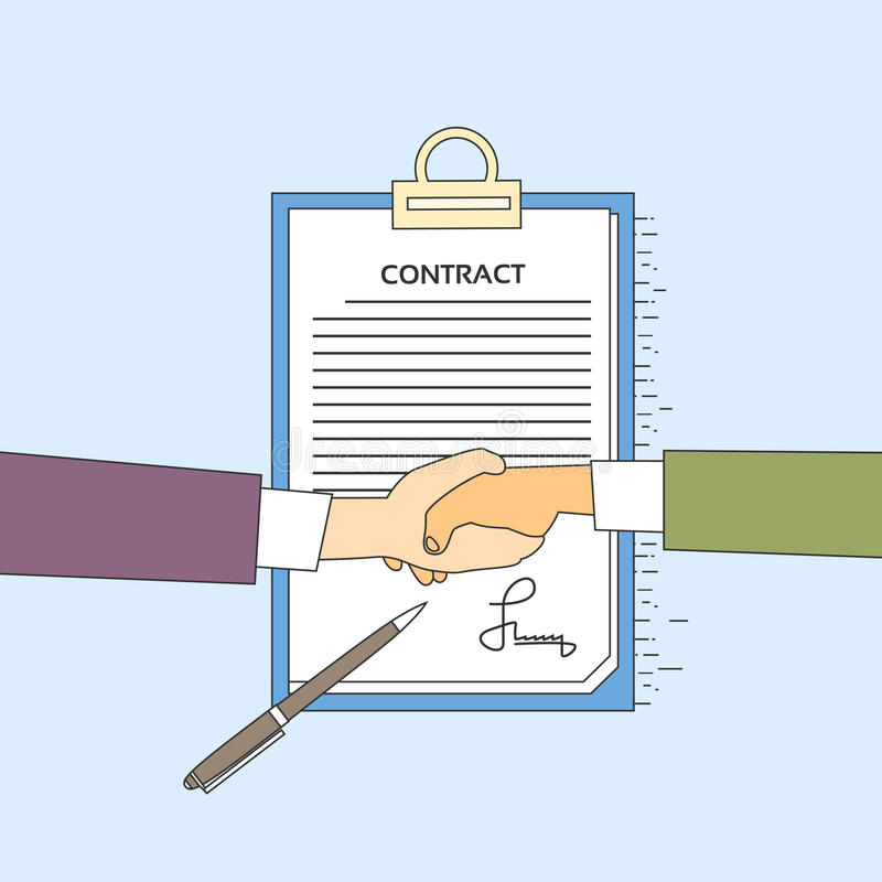握手商人合同报名参加纸张文件,商人手震动笔署名办公桌 皇族释放例证