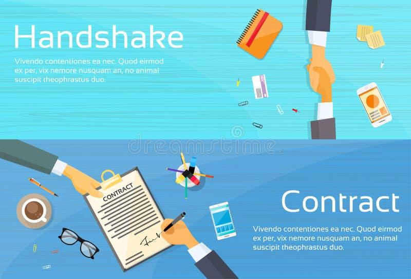 握手商人合同报名参加纸 向量例证