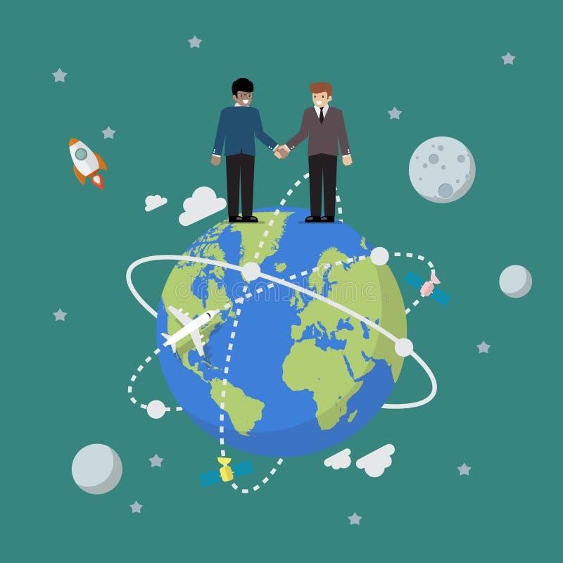 握手在地球的商人 库存例证
