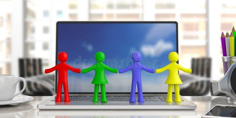握手在计算机,迷离办公室企业背景的四个五颜六色的人的图 3d例证 向量例证