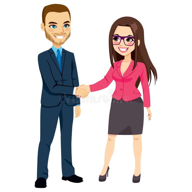 握手女实业家的商人 向量例证