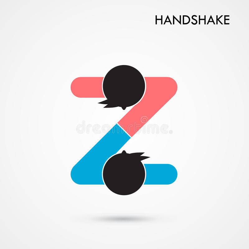 握手抽象标志传染媒介设计模板 企业creativ 向量例证