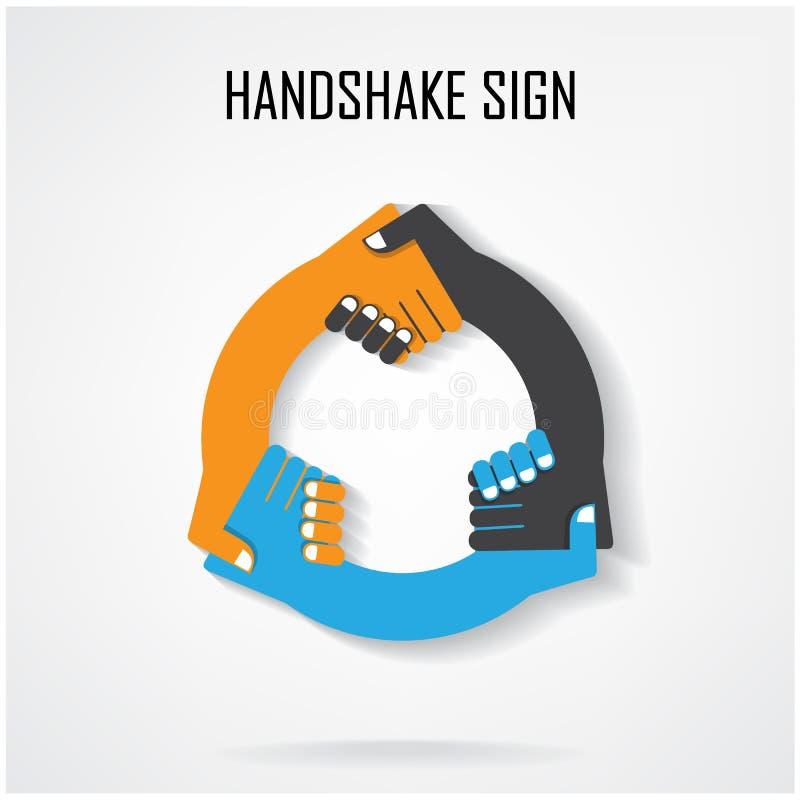 握手抽象标志传染媒介设计模板 向量例证