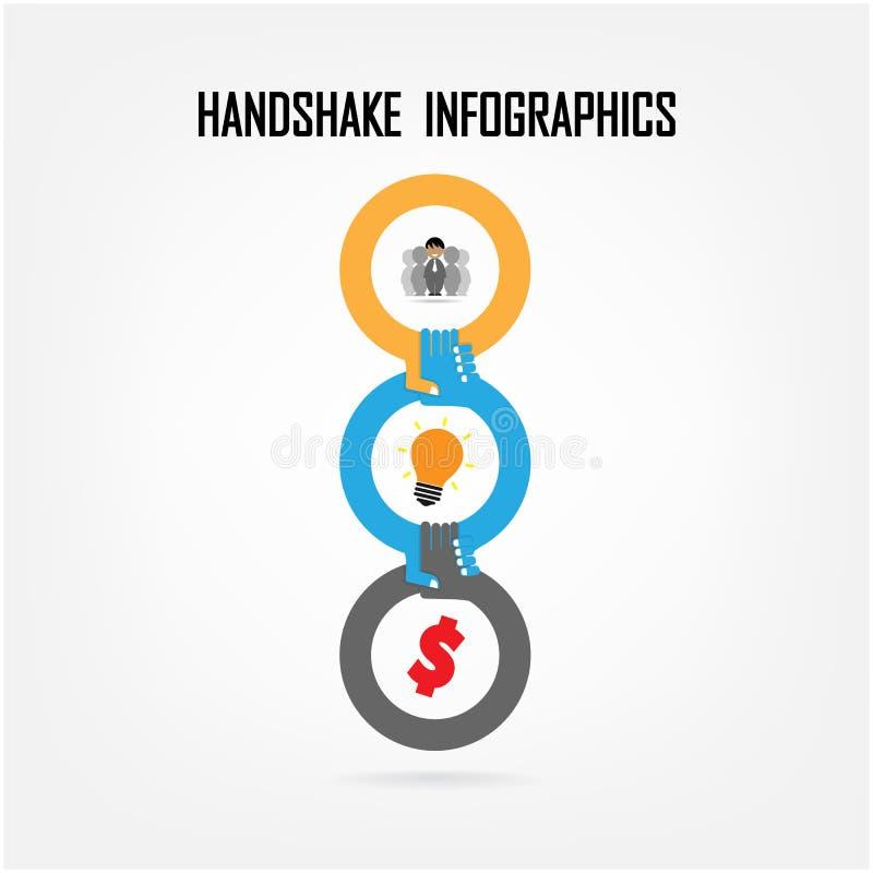 握手抽象标志传染媒介设计 库存例证