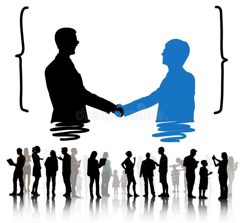 握手招呼的公司成交合作概念 向量例证