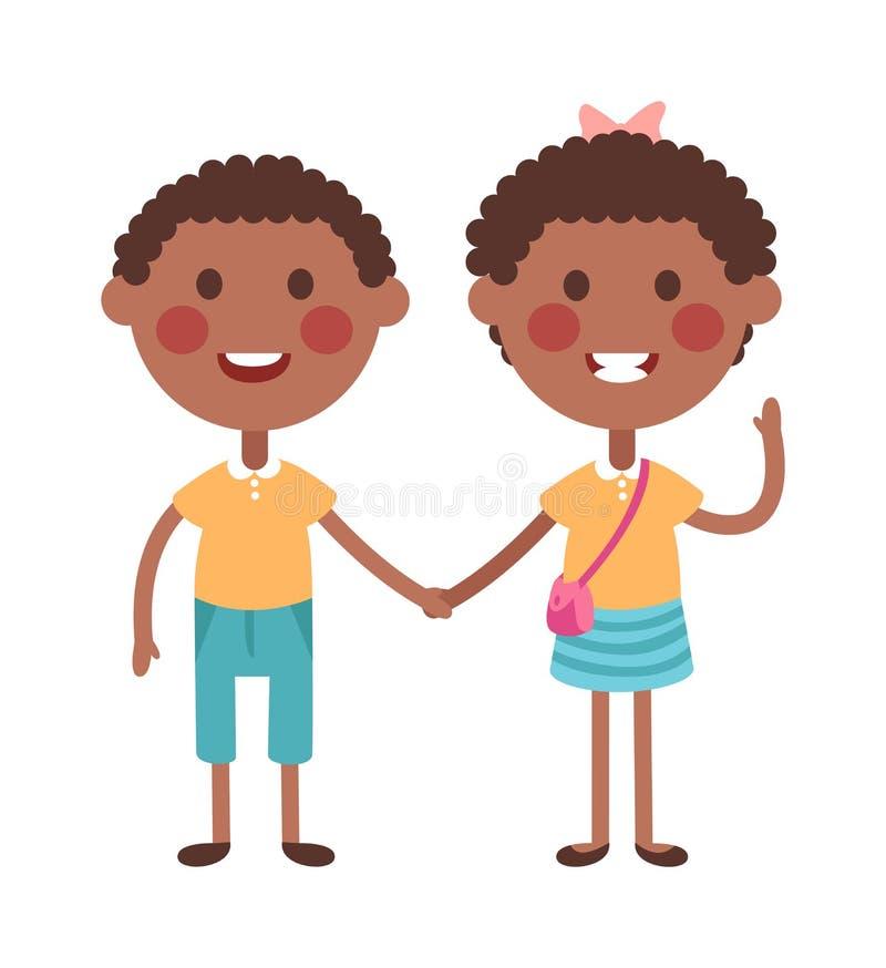 握手男孩和女孩的孪生愉快的孩子导航例证 皇族释放例证