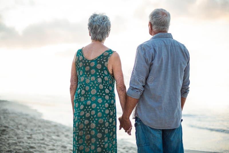 握手的一对资深夫妇的背面图 免版税库存照片