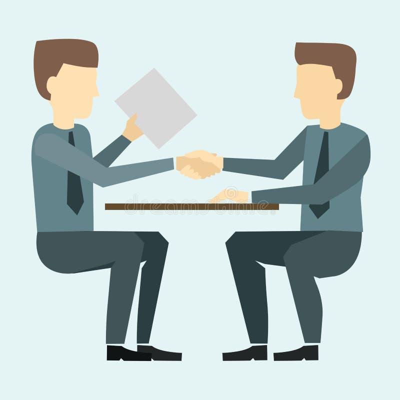 握手的两个商人和谈判 库存例证