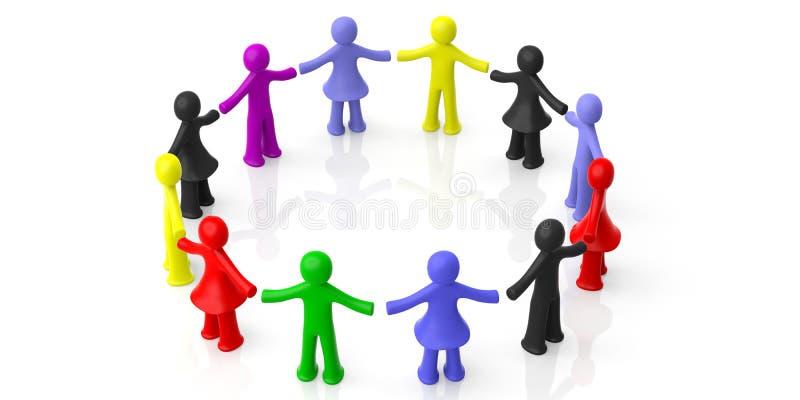 握手的五颜六色的人的图圈子被隔绝在白色背景 3d例证 库存例证