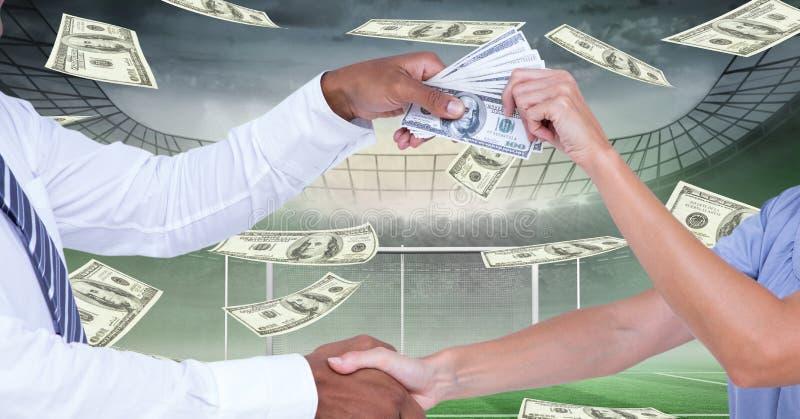握手的人的中央部位,当通过金钱在代表腐败时的橄榄球场 向量例证