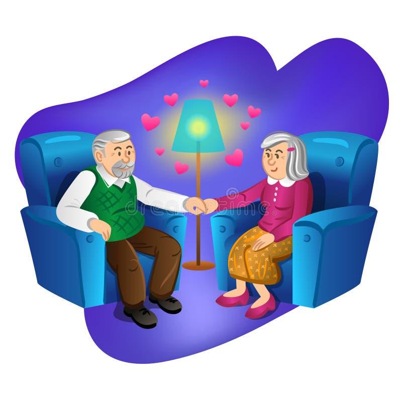 握手的可爱的老夫妇 也corel凹道例证向量 库存例证