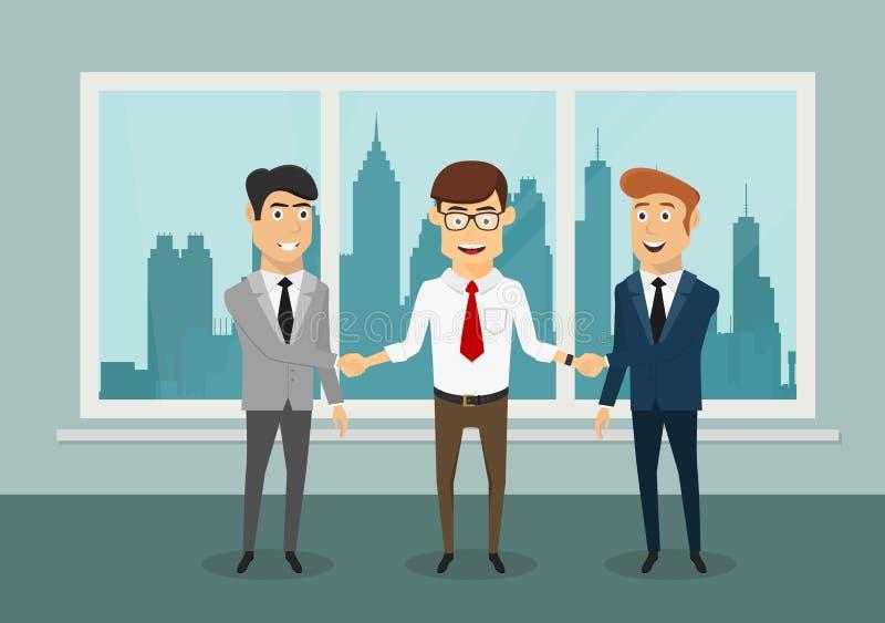 握手的商人在现代办公室 库存例证