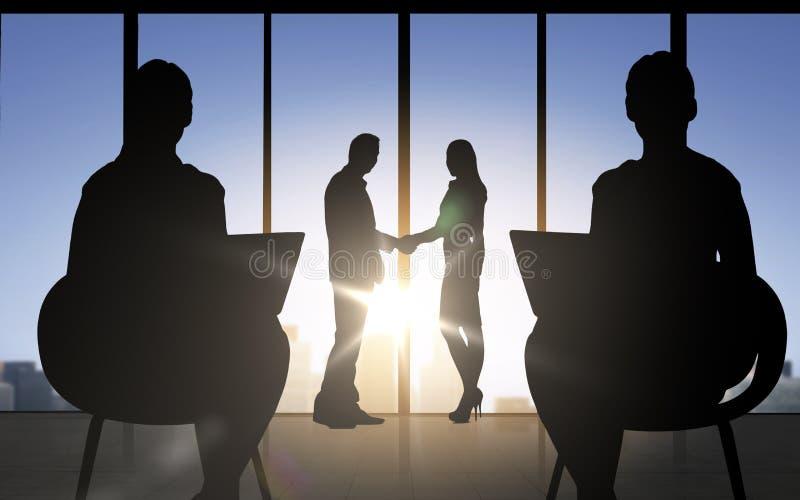 握手的商务伙伴剪影 皇族释放例证