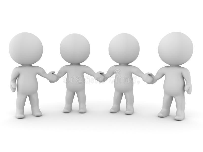 握手的四个3D字符 向量例证