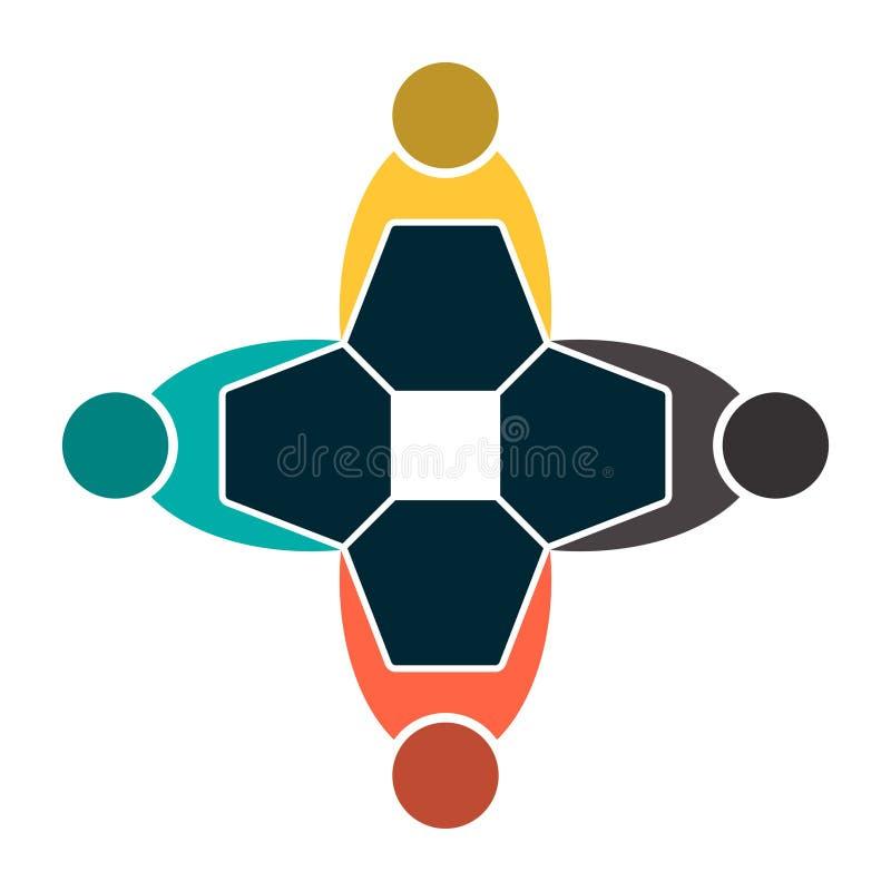 握手的圈子的四人 山顶工作者在同一间力量屋子见面 r 向量例证