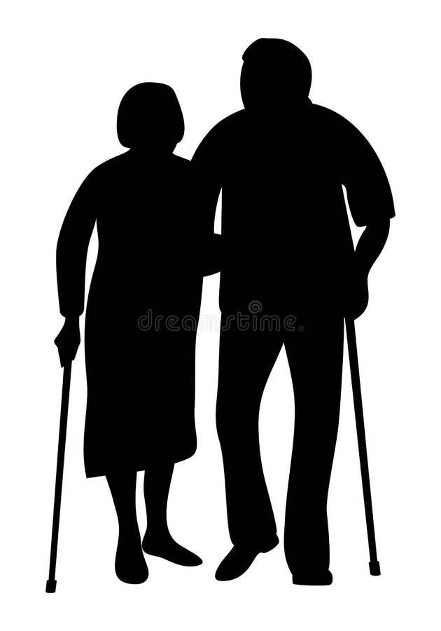 握手的年长夫妇走在公园剪影 库存例证