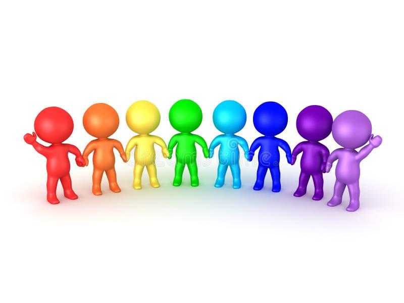 握手的彩虹3D字符象征团结 库存例证