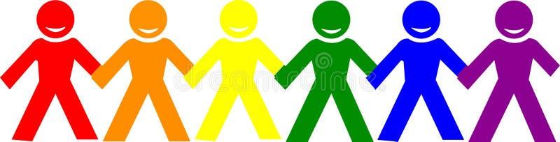 握手的愉快的人民自豪感商标  库存例证