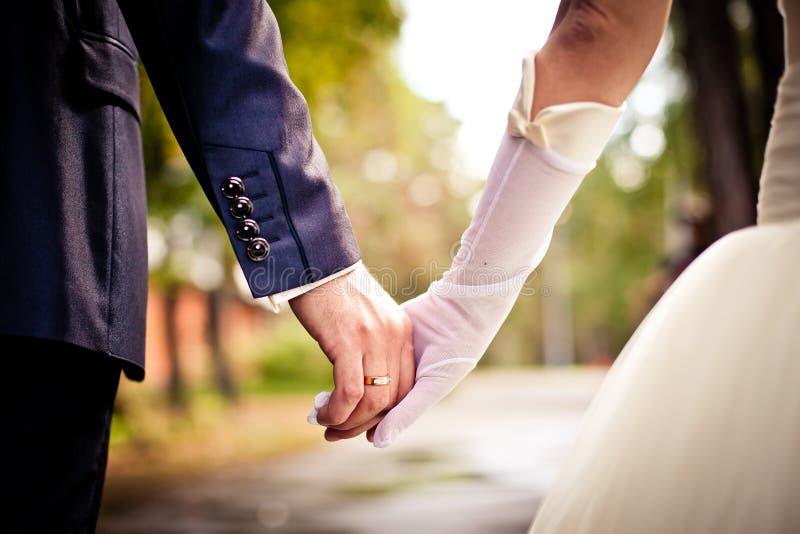 握手的新娘和新郎 库存照片