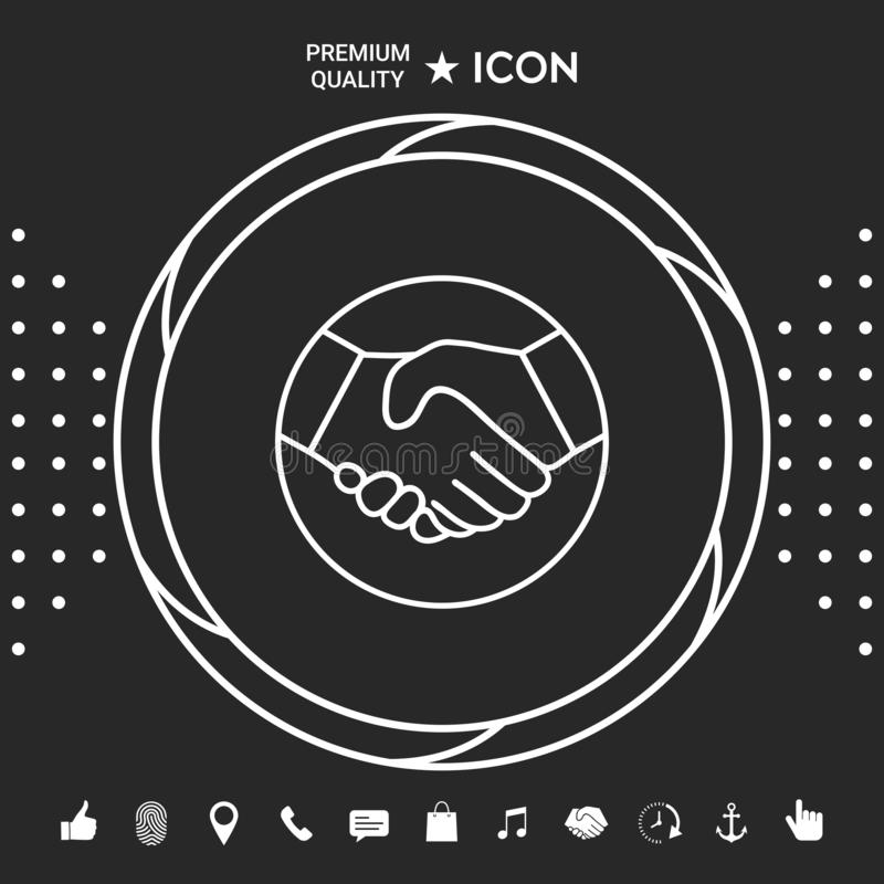 握手的标志在圈子的 线象 您的designt的图表元素 皇族释放例证