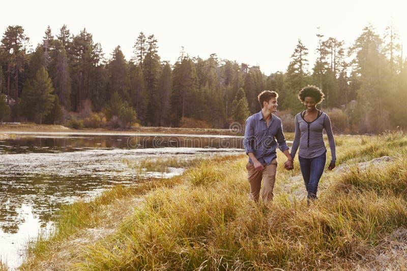 握手的混合的族种夫妇,走在一个农村湖附近 免版税库存照片