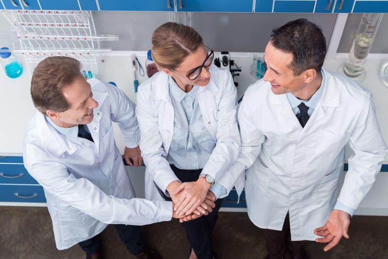 握手的科学家 图库摄影