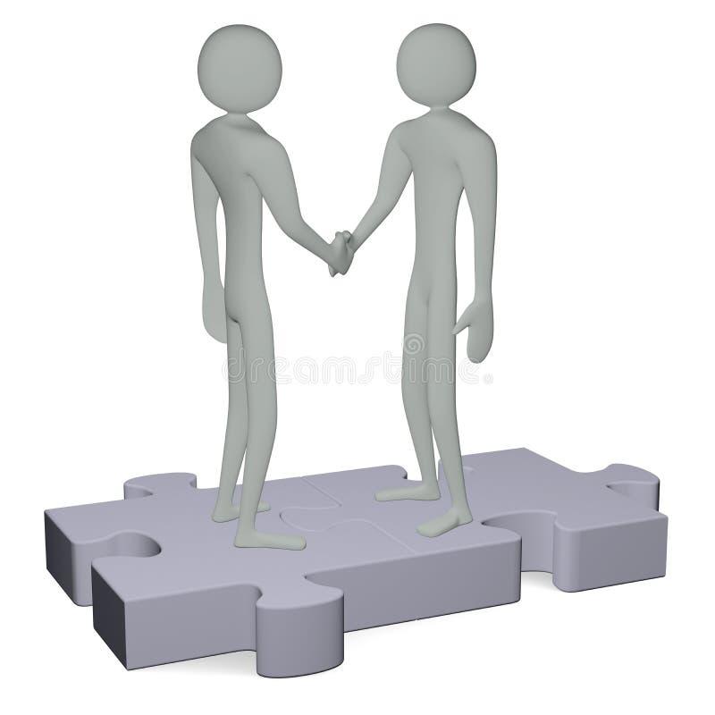 握手的难题的灰色3d人 皇族释放例证