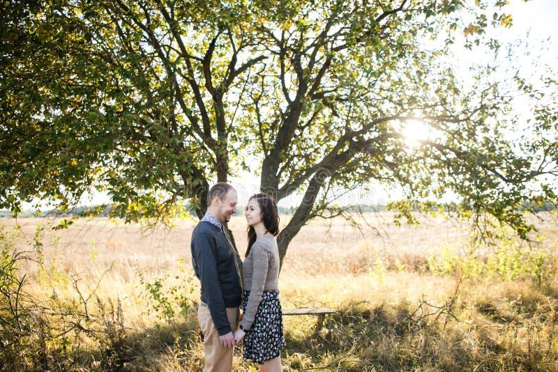 握手的年轻夫妇在秋天日落 免版税库存图片