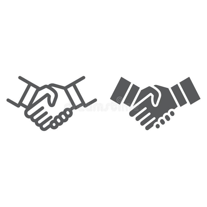 握手线和纵的沟纹象、震动和协议,外交标志,向量图形,在白色的一个线性样式 皇族释放例证