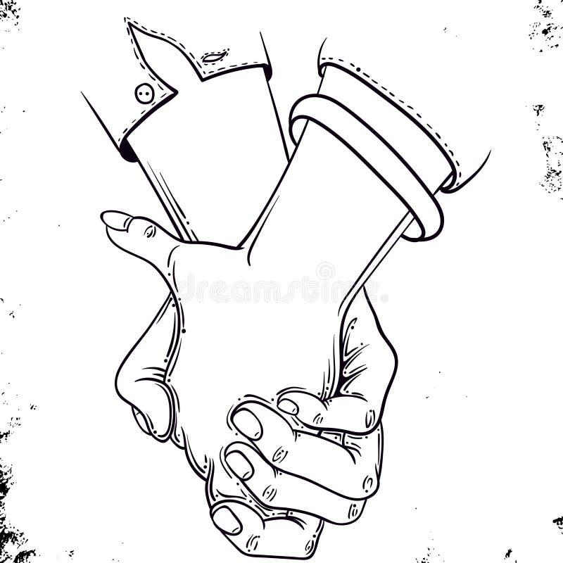 握手-传染媒介例证手拉的剪影  皇族释放例证
