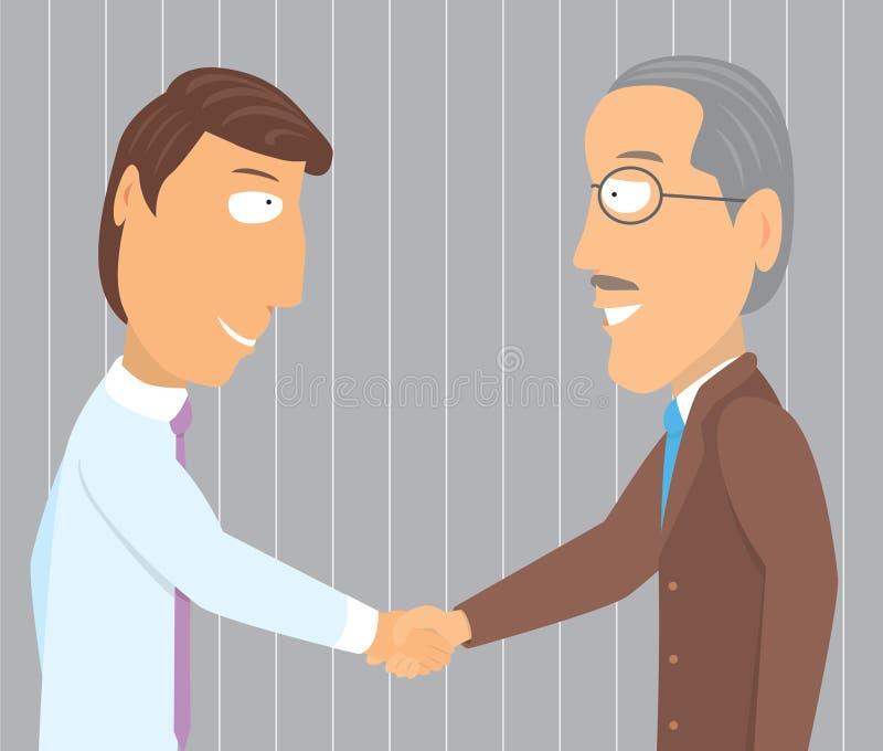 握手年轻和老商人 皇族释放例证