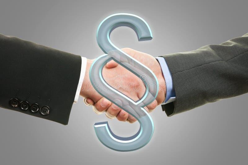 握手-段标志的两位律师 免版税库存照片