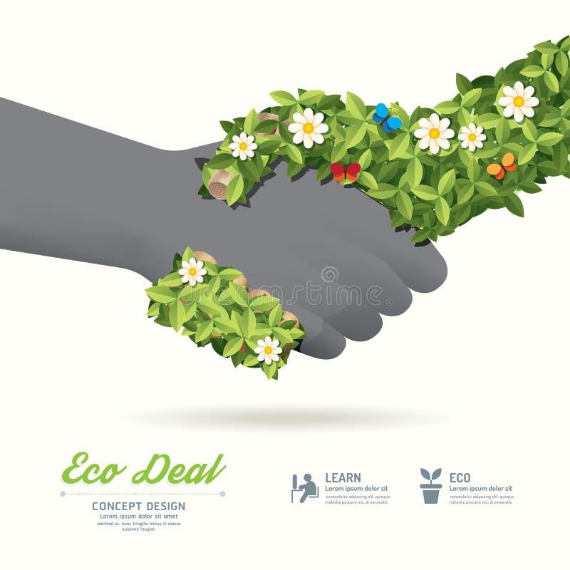 握手eco与手叶子和花的成交概念/可以是u 向量例证